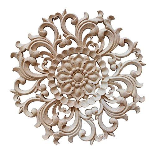 YUENA CARE Möbel Schnitzerei Holz Verzierung Ornament für Schrank Tür Fenster Durchmesser 15 cm #1