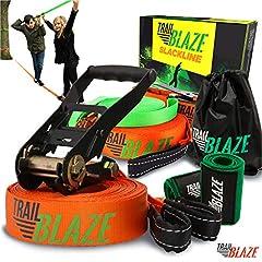 Trailblaze Slackline Kids met hulptouw + boombescherming - Volledige Slackline Set 18,5 m voor beginners - ideale activiteit voor kinderen en gezinnen buitenshuis - Eenvoudig balancier touw te bouwen*