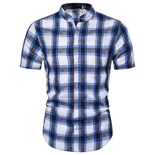 Romantic Homme Chemise à Carreaux Manche Court Mélange de Coton Slim Fit Casual Mince Taille S/M/L/XL/XXL T-Shirt hawaïen à Boutons Blanc Bleu