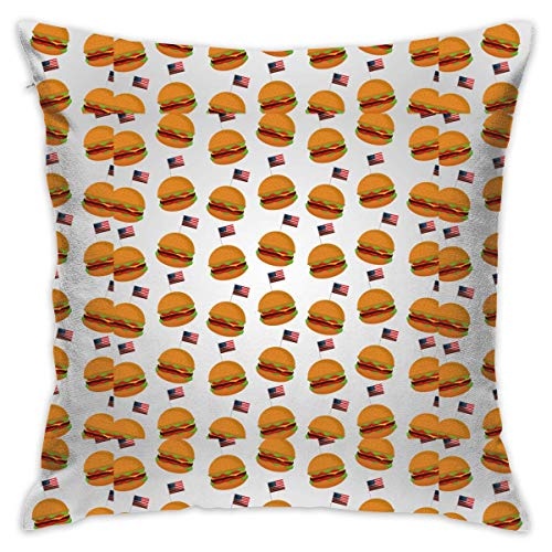 AOOEDM Burgers Flag Customized Square Woven Decorative Cotton Linen Single Pillowcase Cushion Cover for Sofa Sofa Or Bed Set 18x18 Inches