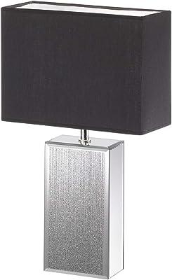 Fischer & Honsel Lampe de table Bert 50096 - 1 ampoule E14 max. 40 W - Abat-jour en tissu - Argenté - 30 x 13 x 50 cm
