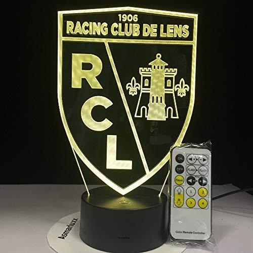 FaceToWind RC Lens Football Club LED Lumière Acrylique Table Veilleuse 7 Couleurs Changer avec Le Toucher À Distance 3D Nuit Lampe Décoration de La Maison Cadeau