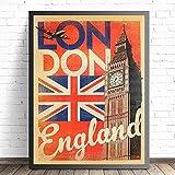 ThinkingPower Cuadros Decorativos Cuadro artístico Impreso en Lienzo de Londres Inglaterra, póster, Cuadros de Pared para decoración de habitación, Cuadro de decoración del hogar, Cuadro 60x90cm