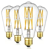 LEOOLS Vintage 10W LED Edison Bulb Dimmable, 100W Equivalent Antique Style Filament Light Bulbs, Clear Glass, Warm White 2700K, 1200LM, E26 Base, Decorative, 360 Degrees Beam Angle, Pack of 4.