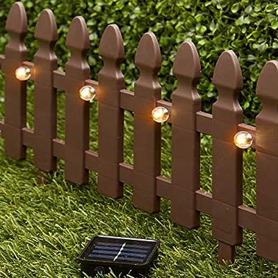 The Lakeside Collection 6-Ft. Solar Border Fence Panel - Garden Landscape Edging Stake - White