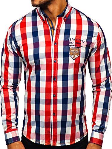 BOLF Herren Elegant Hemd Langarm Button-Down Slim Fit Kariert 1766-1 Rot M [2B2]
