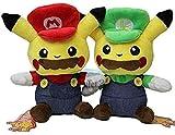 N-R Juguetes de Peluche Anime 2 unids/Set Super Mario Bros Mario & Luigi Pikachu muñecos Suaves Pikachu Cosplay Mario niños 20Cm Mejores Regalos