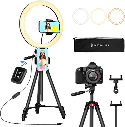 "TaoTronics 12"" Selfie Ring Light with 16""-62"" Adjustable Tripod Stand,2 Phone Holders,Bluetooth Remote Shutter Compatible with iOS/Android for Zoom/Makeup/YouTube,160 bulbs,3X10 color Choice with Bag"