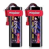FCONEGY RC Batterie 2 Packs 7.4V 4200mAh 2S 2PCs Li-ION Batteries avec Deans/T Prise Plug Battery pour Radio Commande Voiture Bateau Camion Véhicule