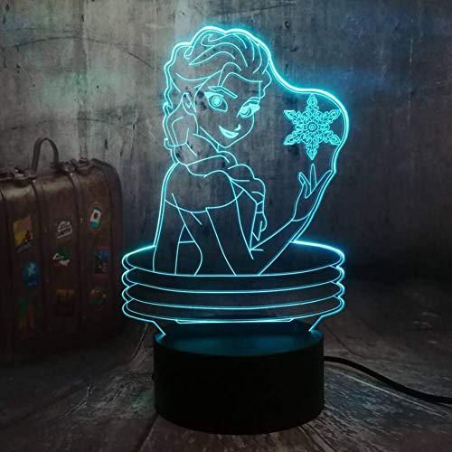 Belle Reine 3D Lampe Visuelle Illusion Bureau Led Veilleuse Neige Elsa Jouets Décor À La Maison Fille Bébé D'Anniversaire