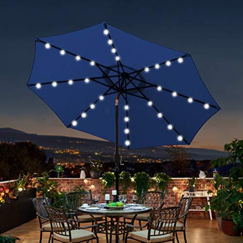 Blissun 9 ft Solar Umbrella 32 LED Lighted Patio Umbrella Table Market Umbrella with Tilt and Crank Outdoor Umbrella for Garden, Deck, Backyard, Pool and Beach (Navy Blue)