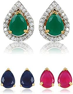 Efulgenz 18 k Yellow Gold Plated Set of 3 Round Solitaire 10 mm AAA Cubic Zirconia CZ Stone Interchangeable Stud Earring Set with Cubic Zirconia Halo Jacket for Girls and Women Jewelry Gift for Her