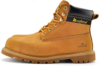 Safetoe Men Boots Men Work Shoes Fashion Classic Leather Extra Wide Steel Toe Cap Steel Midsole Plate Anti-nail