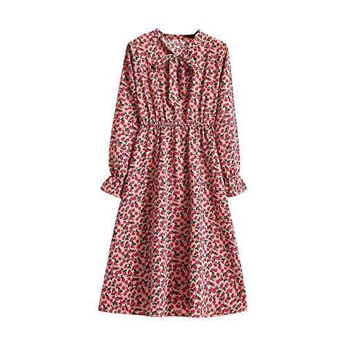 Kobay-Damen Frühlings Sommermode Bequem Atmungsaktiv Hautfreundlich Frauen Slim Chiffon Langarm Druck Bowknot Vintage Stand Kragen Kleid