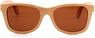LUKEEXIN Handcraft Simple Style Wood Sunglasses Unisex-Adult Polarized UV Protection for Men Women (Color : Brown)