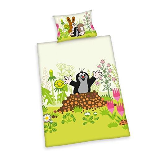 Herding LA PETITE TAUPE Parure de Lit Réversible pour Enfants, Housse de Couette 100 x 135 cm, Taie d'Oreiller 40 x 60 cm, Flanelle