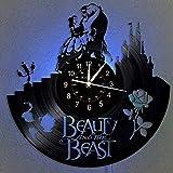 JLJL La Bella y la Bestia Reloj de Pared de Vinilo con luz LED Reloj de Cuarzo de Vinilo de 12'| Decoración Interior Hecha a Mano para el hogar | Reloj de Dibujos Animados Vintage