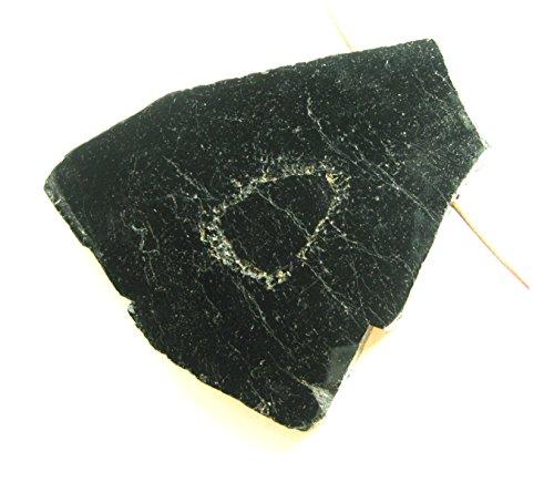 Turmalin schwarz Schörl Anschliff Kanten roh gebohrt groß 8-9 cm
