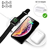 Quezqa Wireless Charging Pad - 3 in 1 Multiple Devices Charging Station - Charging Leather Mat Compatible with Airpods Pro Apple Watch Series 5 4 3 iPhone 11 Pro Max Xs Xr with QC 3.0 Adapter (White)