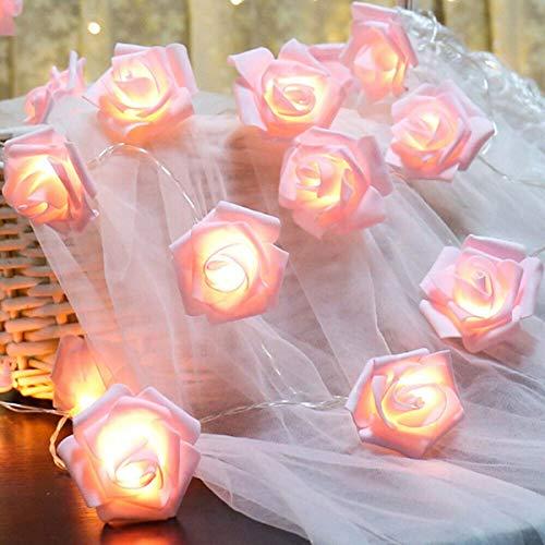 HelloCreate Rose Flower String Lights, LED Fairy Rose Flower Light String for Home Xmas Wedding Party Decor