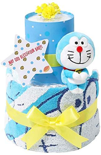 ドラえもん 出産祝い 2段 おむつケーキ 名入れ刺繍 女の子 男の子 男女兼用 出産記念 御出産祝い 名前入り お洒落 オシャレ Doraemon ギフト ドラちゃん ぬいぐるみ どらえもん メリーズテープタイプMサイズ