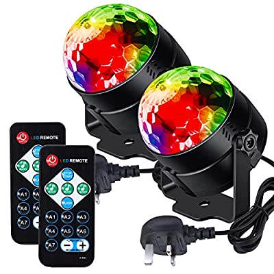 Litake Disco Ball Disco Lights,Remote Control DJ Lights 3W 7 Colours Strobe Light Sound Activated Party Lights For Xmas Party Pub Wedding Club Show (2 Pack)