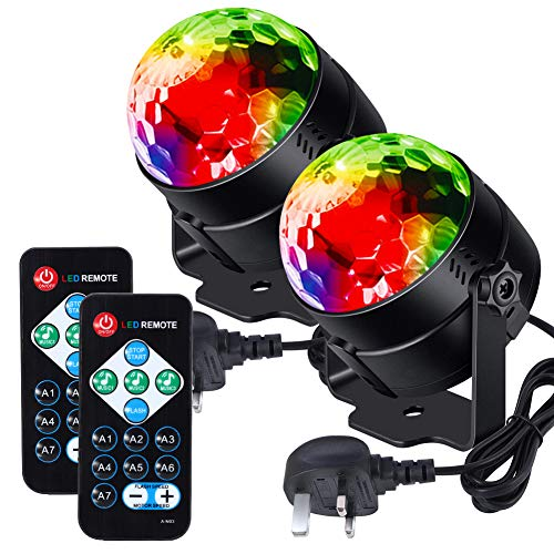 Litake Disco Lights,Disco Ball Remote Control DJ Lights 3W 7 Colours Strobe Light Sound Activated Party Lights For Xmas Party Pub Wedding Club Show (2 Pack)