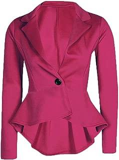 Women's Ladies Crop Frill Shift Slim Fit Peplum Blazer Jacket Coat