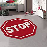 Kids/Baby Room/Daycare/Classroom/Playroom Area Rug. Stop Sign. Street Sign. Fun. Educational. Non-Slip Gel Back. Bright Colorful Vibrant Colors (3' 3' X 3' 3' Octagon)