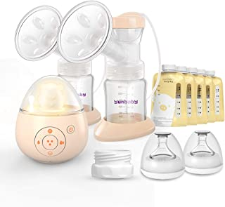 Double Electric Breast Pump, Yunbaby S19 Portable Breastfeeding Pump Ultra Quiet & 6 Phase Mode, Adjustable Speed & Nightlight Soother Music (Yellow-S19)