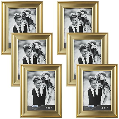 Icona Bay 5x7 Picture Frame (Gold, 6 Pack), Gold Photo Frame 5 x 7, Wall Mount or Table Top, Set of 6 Elegante Collection