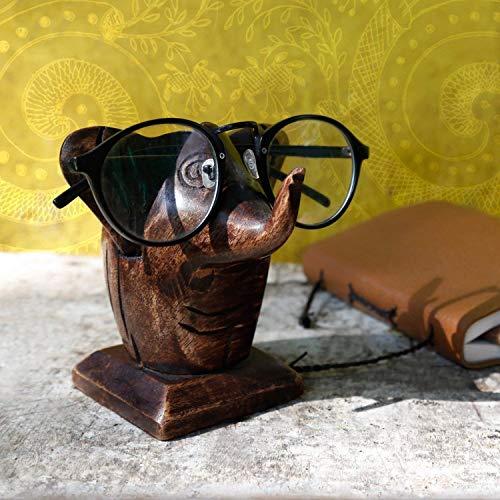 Store Indya, Classico intagliato a mano in palissandro a forma di elefante occhiali Holder stand spettacolo regalo per lui o lei