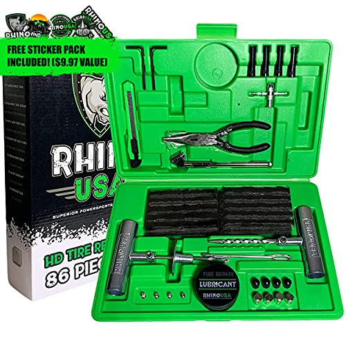 Rhino USA Tire Plug Kit (86-Piece) Repair Punctures & Fix Flats with Ease - Heavy Duty Flat Tire...