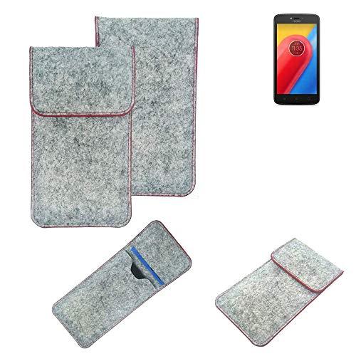 K-S-Trade® Handy Schutz Hülle Für Lenovo Moto C LTE Schutzhülle Handyhülle Filztasche Pouch Tasche Hülle Sleeve Filzhülle Hellgrau Roter Rand