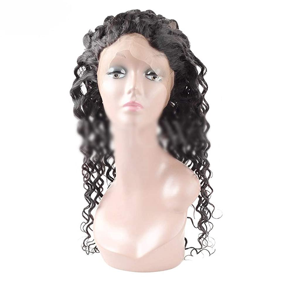先に明確なティームYESONEEP 360レース前頭葉9Aブラジル人間の髪水波レース前頭閉鎖ナチュラルカラー用女性合成ヘアレースかつらロールプレイングかつらロングとショート女性自然 (色 : 黒, サイズ : 8 inch)
