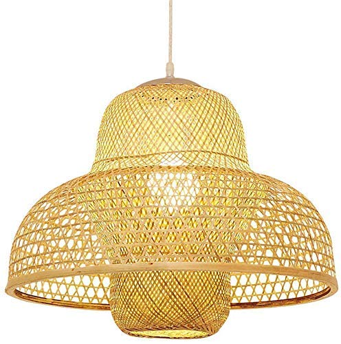 GYC Chandelier Countryside Hotel Style Natural Wood Bamboo Weaving Wire Mesh Lantern Straw Hat Hanging Light Chrome Flush Mount Ceiling Lighting E26 Pendant