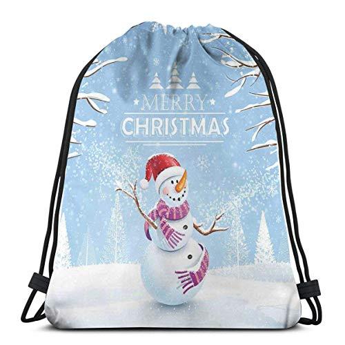 Hangdachang Süßer Schneemann in einem verschneiten Wintertag mit Weihnachtsmütze, Frosty Noel, Kinderzimmer-Thema, verstellbarer Kordelverschluss, bedruckter Kordelzug-Rucksack