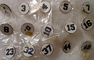 Vintage NY New York Yankees Retired Number PINSTRIPES CIRCLES Hat Lapel Baseball Pins Set of 15 with #1 Billy Martin, #3 Babe Ruth, #4 Lou Gehrig, #5 Joe Dimaggio, #7 Mickey Mantle, #8 Yogi Berra
