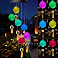 CrazyFire Solar Crystal Ball Wind Chime, Outdoor Mobile Hanging Patio Light with Bells, Color Changing Waterproof Wind Chimes for Garden/Yard Decor, Great Gift for Women Mother Elderly Friend