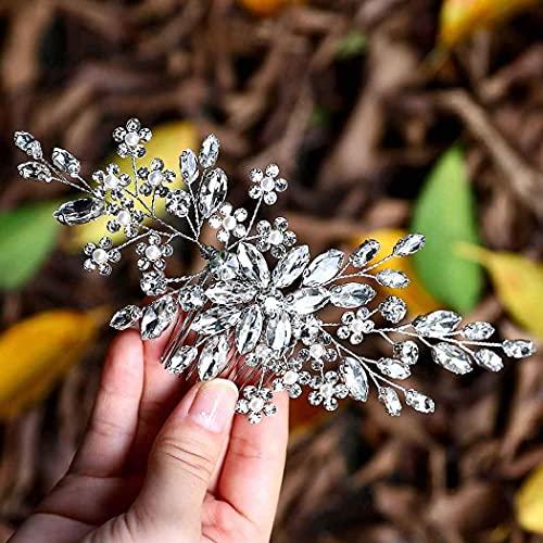 Aukmla Peineta para novia con cristales brillantes y flores, accesorio para el pelo para mujeres y niñas