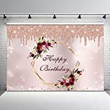 Avezano Burgundy Flower Rose Gold Birthday Backdrop Slime Burgundy Floral Glitter Rose Gold Birthday Party Background Adults Women 30th 40th 50th 60th 70th Birthday Photo Booth Banner Backdrops (7x5)