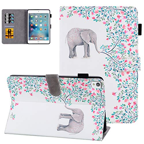 Case for iPad 8th Gen(2020)/iPad 7th Gen(2019) 10.2' Tablet Cover with Pen Holder,UGOcase PU Leather Full Protective Flodable Stand Smart Case with Card Pocket for iPad 10.2' 2020/2019, Small Elephant
