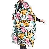 Tengyuntong Bufanda de mantón Mujer Chales para, Gatos lindos de la historieta Bufanda suave del mantón Bufanda del invierno de la cachemira para los hombres de las mujeres