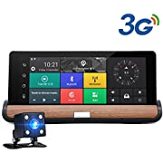 "junsun 7"" Android 5.0 Dash cam Car Camera DVR Rear view GPS Bluetooth Dual Lens Video Recorder FHD 1080P Automobile + Car Console"