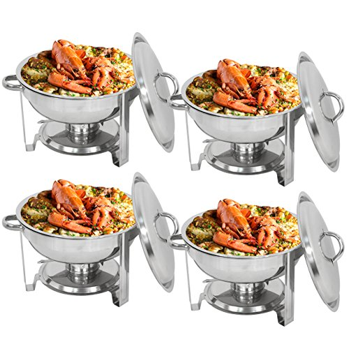 Deluxe Stainless Steel Chafing Dish Round Chafer with Lid 5 Quart,Dinner Serving Buffet Warmer Full Size (4)