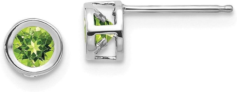Solid 14k White Gold 4mm Bezel August/Peridot Green August Gemstone Post Studs Earrings 4mm