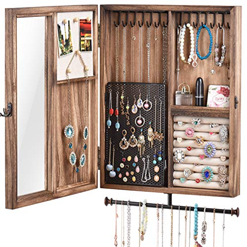 Keebofly Wall Mounted Jewelry Organizer Box Rustic Wood Large Space Jewelry Cabinet Holder for Necklaces, Earrings, Bracelets, Ring Holder, and Accessories (Carbonized Black)