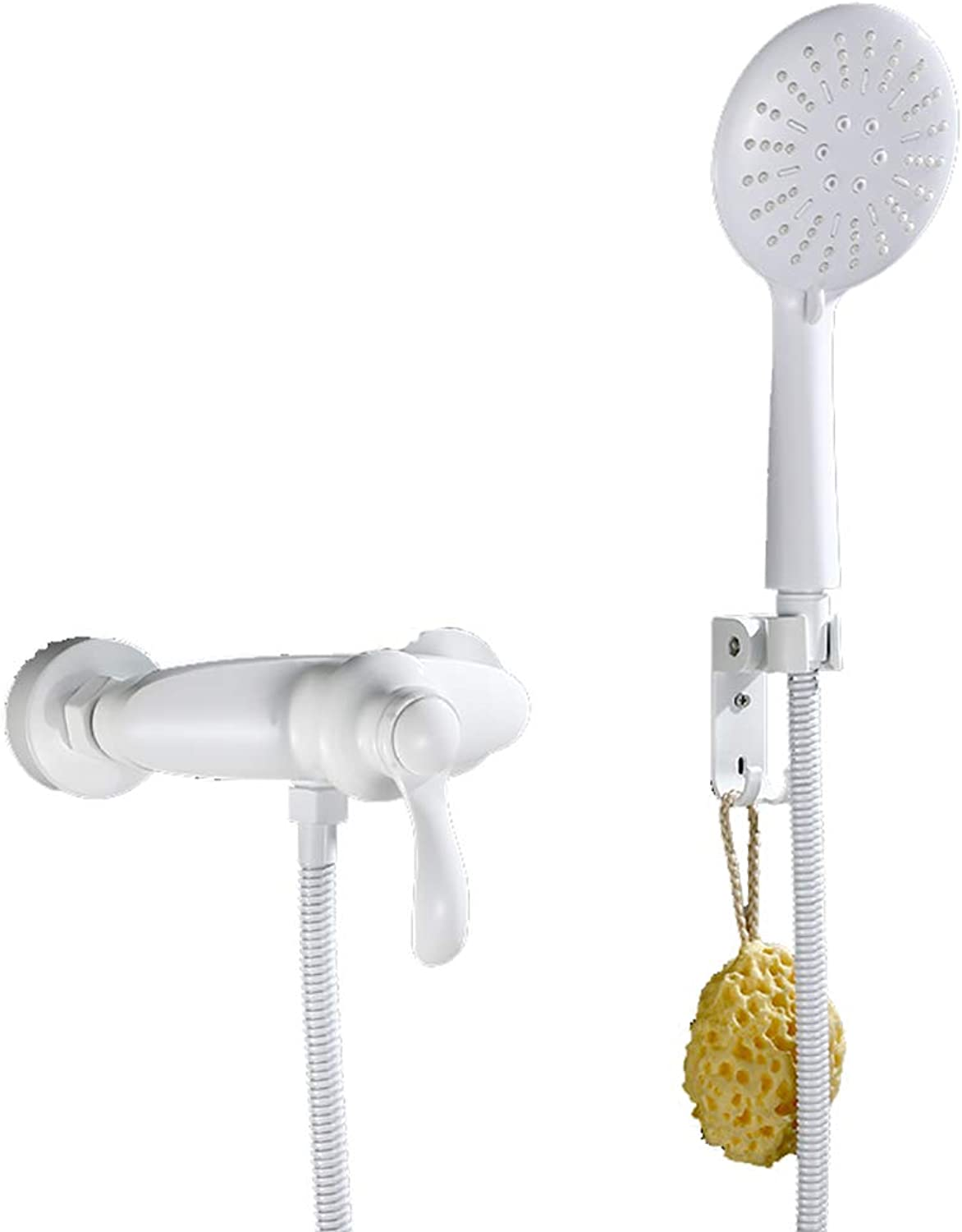 YYF-SHOWER Shower Systems European Retro Shower Set, Brass, Wall-mounted Bathroom hotel Cold hot Shower Faucet, Free Lifting (color   White, Size   D)