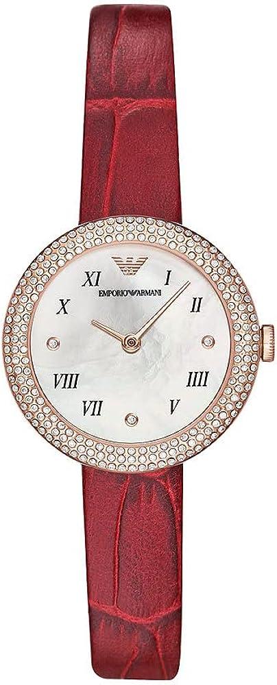 Emporio armani orologio da donna cassa in acciaio lunetta glitterata cinturino in pelle rossa AR11357