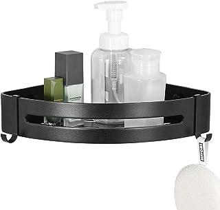 ENCOFT Estanteria para Baño sin Taladro Estante Ducha Negro Aluminio con 2 Ganchos Estanteria Esquina Ducha Almacenaje Baño (1 Paquete)